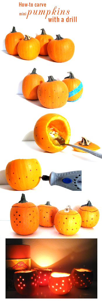 Mod and Mint craft tutorial: How to carve mini Halloween Pumpkins with a drill.