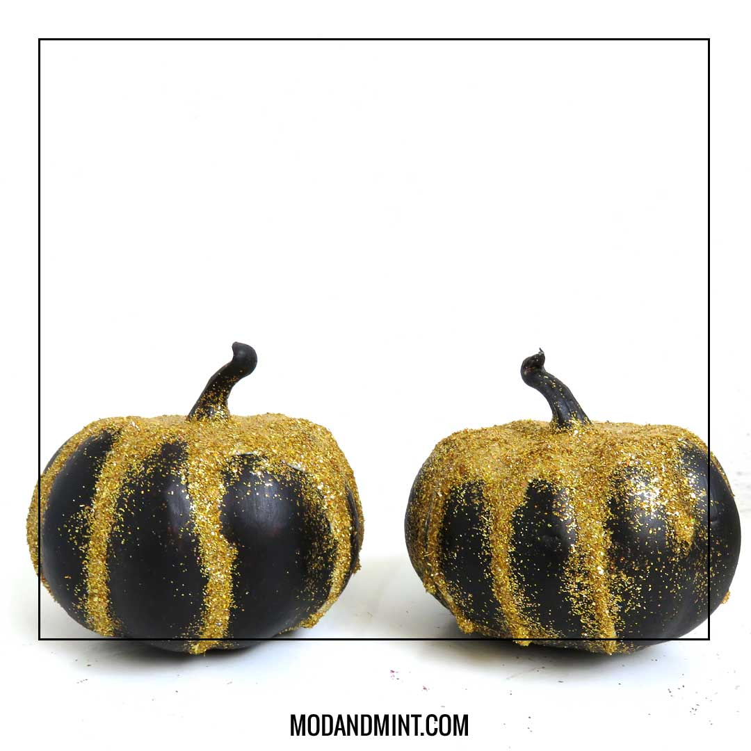 glitter mini pumpkins
