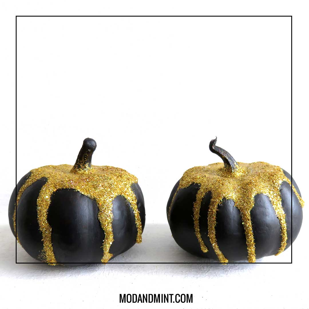 gold glitter mini pumpkins diy