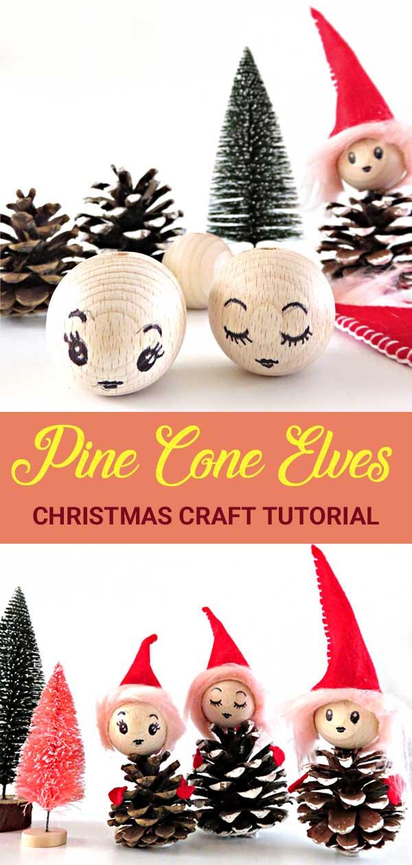 Christmas Craft DIY Tutorial. How to make cute Pine Cone Elves.