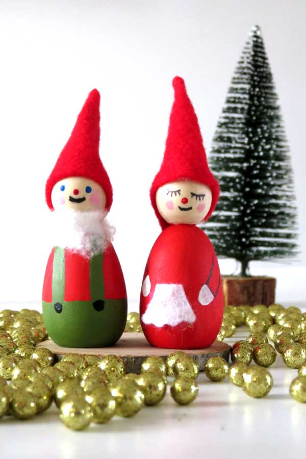 DIY Wood Mr. and Mrs. Claus Christmas Ornaments