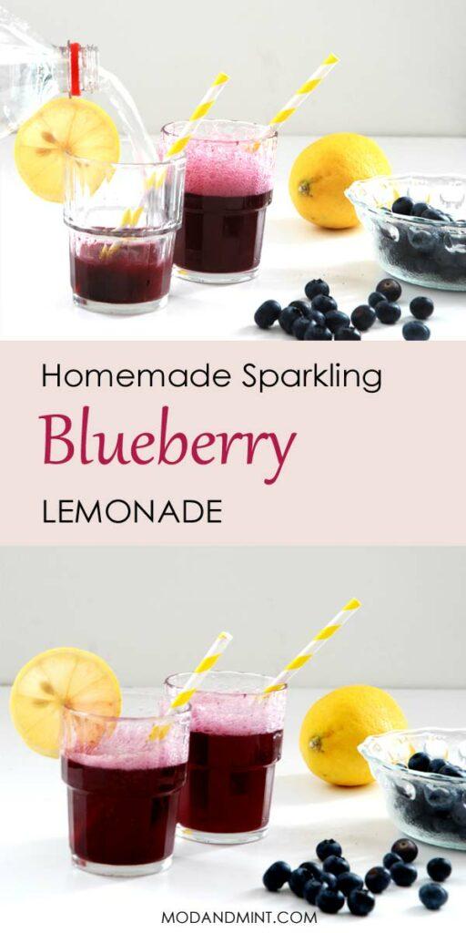 Homemade sparkling blueberry lemonade